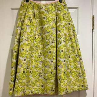 ドゥロワー(Drawer)のドゥロワー  ジャガードスカート イエロー ピンク フラワー 36 drawer(ひざ丈スカート)
