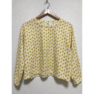 ikka - 黄色の千鳥柄 トップス t-3