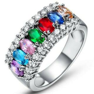 MCR02女性愛の心多色リング結婚指輪日本サイズ17号(リング(指輪))