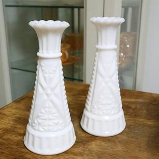 ファイヤーキング(Fire-King)の⑯ファイヤーキング Fire King 一輪挿し花瓶 2本セット(花瓶)