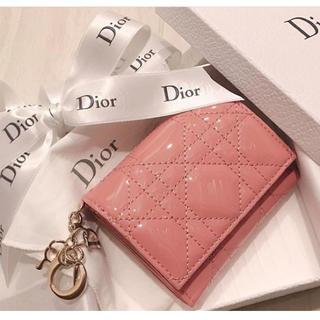 """クリスチャンディオール(Christian Dior)のカーフスキン """"LADY DIOR"""" ウォレット 限定カラー ピンク(財布)"""