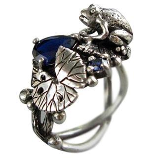 カエル フロッグ 葉っぱ リング シルバーカラー 銀色 リング 指輪 12号(リング(指輪))