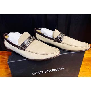 ドルチェアンドガッバーナ(DOLCE&GABBANA)の美品ドルチェ&ガッバーナD&Gピットローファー6レザー靴シューズ茶25レア(ドレス/ビジネス)