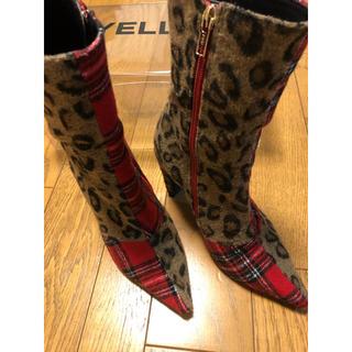 期間限定値下 YELLO ショートブーツ ブーツ チェック レオパード(ブーツ)