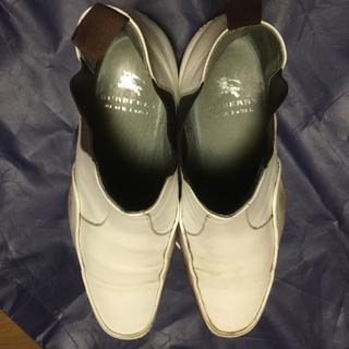 バーバリーブラックレーベル(BURBERRY BLACK LABEL)のバーバリーブラックレーベル サイドゴアブーツ26  Uチップ ホワイト (ブーツ)