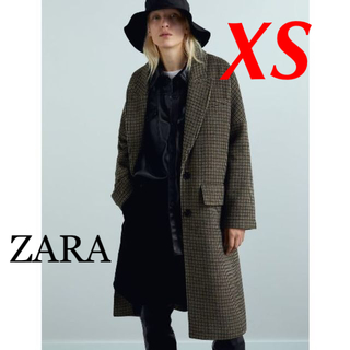 ザラ(ZARA)の新品 ZARA XS チェック柄 オーバーサイズ コート(ロングコート)