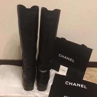 シャネル(CHANEL)のCHANEL シャネルジョッキブーツ黒 サイズ39.5(ブーツ)