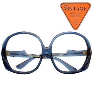 デッドストックヴィンテージ USAポラロイド社 イタリア製 大サイズ 青 丸眼鏡(サングラス/メガネ)