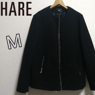 ハレ(HARE)の美品 ノーカラージャケット ブルゾン MA-1 黒 ブラック M(ブルゾン)