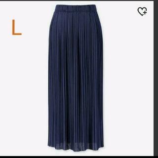 ユニクロ(UNIQLO)のユニクロ ランダムプリーツロングスカート L ブルー(ロングスカート)