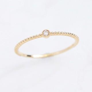 アガット(agete)のNOIR DE POUPEE K10ダイヤモンド&ミル ピンキーリング (リング(指輪))