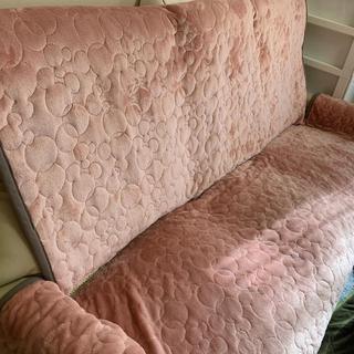 ベルメゾン(ベルメゾン)のソファカバー 隠れミッキー ピンク 2.5人掛け マイクロファイバー(ソファカバー)
