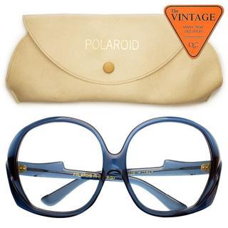 70年代デッドUSAヴィンテージ ポラロイド社 イタリア製ケース付 大きめ丸眼鏡(サングラス/メガネ)