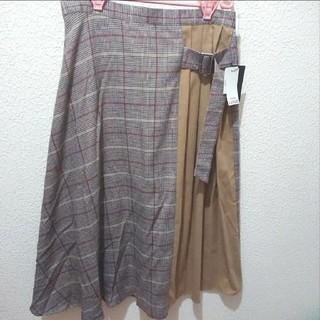 アベイル(Avail)の新品 Avail 4L グレンチェック切り替え プリーツ ロング スカート♥️(ロングスカート)