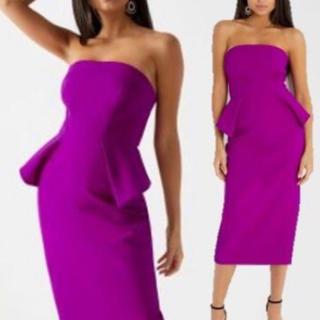 リプシー(Lipsy)のリプシー ペプラム バンドゥ タイト ミディアム ワンピース ドレス(ミディアムドレス)
