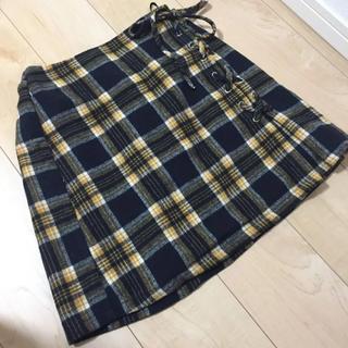 イエローチェック 台形ミニスカート(ミニスカート)
