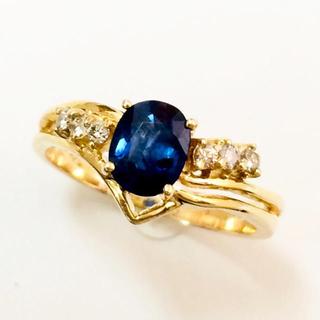 【値下げ】 K14 ブルー サファイア ダイヤ リング(リング(指輪))