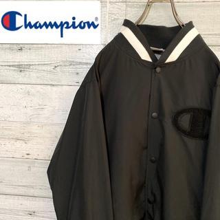 チャンピオン(Champion)の【レア】チャンピオン☆刺繍デカロゴ ブラック ナイロンジャケット ブルゾン(ブルゾン)
