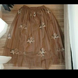 ロイヤルパーティー(ROYAL PARTY)のROYAL PARTY ブラウン チュールスカート(ひざ丈スカート)