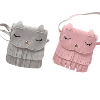 お値下げ中!新品未使用❣️キッズ フリンジショルダーバッグ 猫ちゃん(ポシェット)