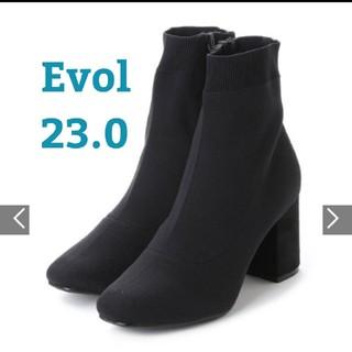 EVOL - 【EVOL】ILIMA スクエアトゥショートブーツ ストレッチブーツ ブラック