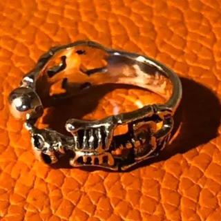 ダブル骸骨 シルバー925 リング  28号 銀 指輪 クリスマス プレゼント(リング(指輪))