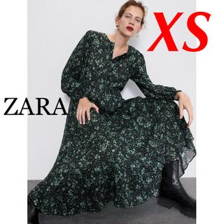 ザラ(ZARA)の新品 完売品 ZARA XS 花柄 フリル ワンピース GN(ロングワンピース/マキシワンピース)