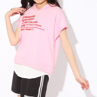 レピピアルマリオ(repipi armario)の新品*repipi armario ワッフル重ね着風 パーカー Tシャツ レピピ(Tシャツ/カットソー)