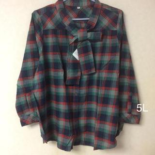 セシール(cecile)の大きいサイズ  ボウタイ付きネルシャツ(シャツ/ブラウス(長袖/七分))