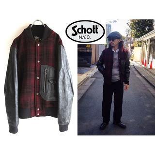 ショット(schott)の定価79920円 Schott Dポケット 袖レザースタジャン 38 USA製(スタジャン)