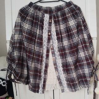 フェイバリット(Favorite)のワンピース専門店Favorite チェックレースレイヤードスカート(ひざ丈スカート)
