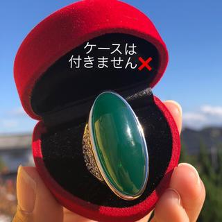 訳ありB品 大振り グリーンクリスタル 人工石 緑 石 シルバー リング 指輪(リング(指輪))