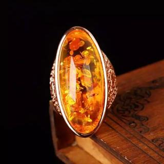 大振り イエロークリスタル 人工石 ローズゴールド リング 指輪 大きいサイズ(リング(指輪))