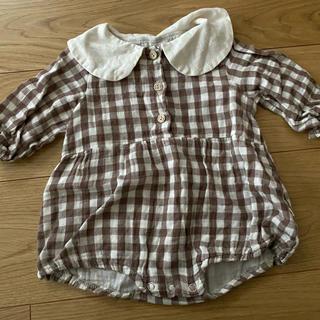 プティマイン(petit main)の韓国子供服 ブラウンチェック ロンパース(ロンパース)