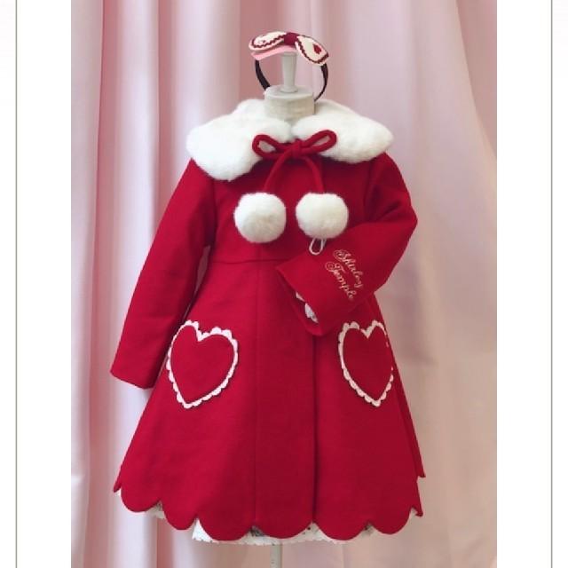 Shirley Temple(シャーリーテンプル)の新品 シャーリーテンプル ハート スカラップコート 赤 100 キッズ/ベビー/マタニティのキッズ服女の子用(90cm~)(コート)の商品写真