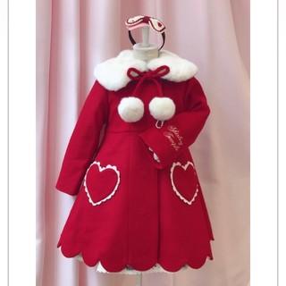 シャーリーテンプル(Shirley Temple)の新品 シャーリーテンプル ハート スカラップコート 赤 100(コート)