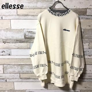 ellesse - 【人気】ellesse 刺繍ロゴスウェット ネックロゴ ホワイト サイズL