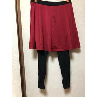 ニッセン(ニッセン)の6月末処分!レギンス付スカート レッド(ひざ丈スカート)