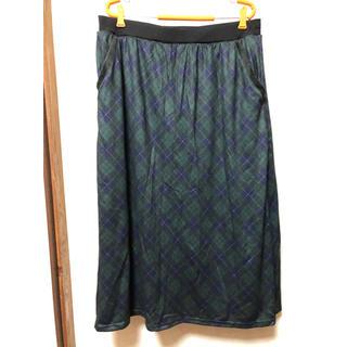 ニッセン(ニッセン)の裏起毛レギンス付ロングスカート チェック柄(ロングスカート)