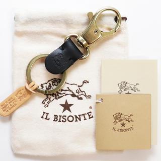 イルビゾンテ(IL BISONTE)の新品 イルビゾンテ キーホルダー レザー キーリング 鍵 アクセサリー ブラック(キーホルダー)
