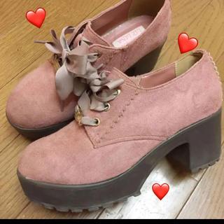 リズリサ(LIZ LISA)のリズリサ ボリュームヒール シューズ ピンク オックスフォード(ローファー/革靴)