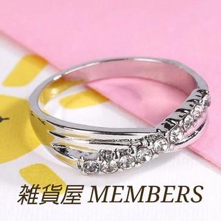 送料無料14号クロムシルバースーパーCZダイヤデザイナーズジュエリーリング指輪(リング(指輪))