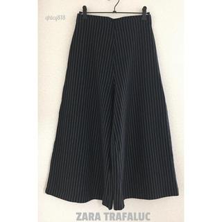 ZARA - 【美品】ZARA TRAFALUC フレアーガウチョパンツ S 黒 ストライプ