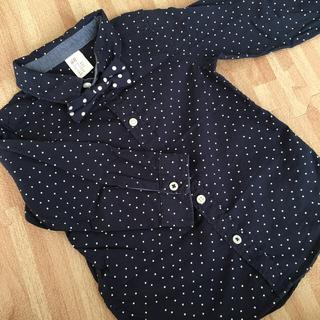 エイチアンドエム(H&M)のフォーマルシャツ 紺 ドット 蝶ネクタイ 2点セット(ドレス/フォーマル)