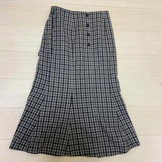 チェックマーメイドスカート★グレー(新品)(ロングスカート)