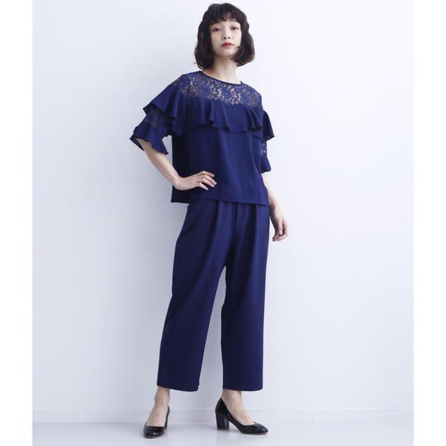 merlot(メルロー)のmerlot plusフリルレースブラウス×テーパードパンツドレス セットアップ レディースのフォーマル/ドレス(その他ドレス)の商品写真