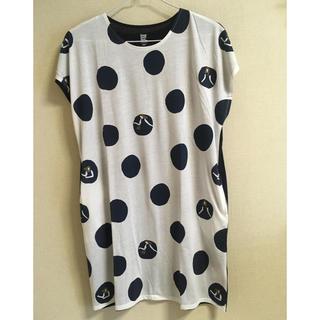 グラニフ(Design Tshirts Store graniph)のグラニフ  水玉チュニック 白×ネイビー(チュニック)