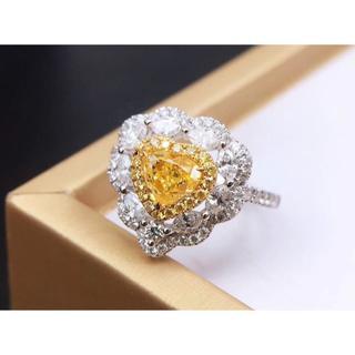 GIA付ハートのファンシーイエローダイヤモンドリング(リング(指輪))