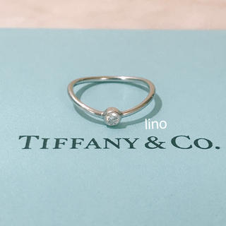 ティファニー(Tiffany & Co.)の美品 ティファニー Tiffany ウェーブ シングルロウ ダイヤモンド リング(リング(指輪))