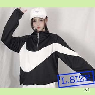 ■[スポーティーカットソー黒] ブラック シンプル チャック(Tシャツ(長袖/七分))